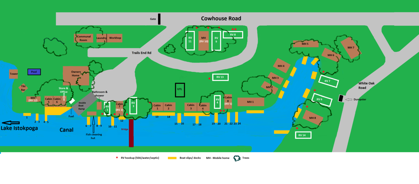 Trails End Fishing Resort Map